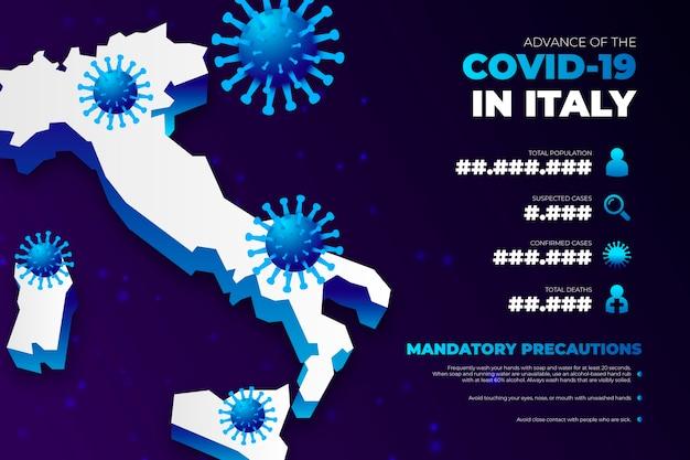 Mapa de país de coronavirus infografía para italia