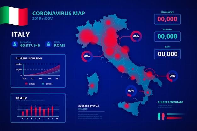 Mapa de país de coronavirus infografía
