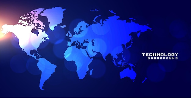 Mapa de palabras de tecnología con ilustración de efectos de luz