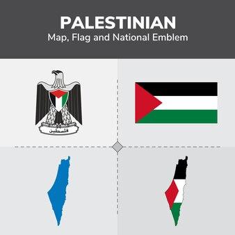 Mapa palestino, bandera y emblema nacional