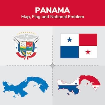 Mapa de panamá, bandera y emblema nacional