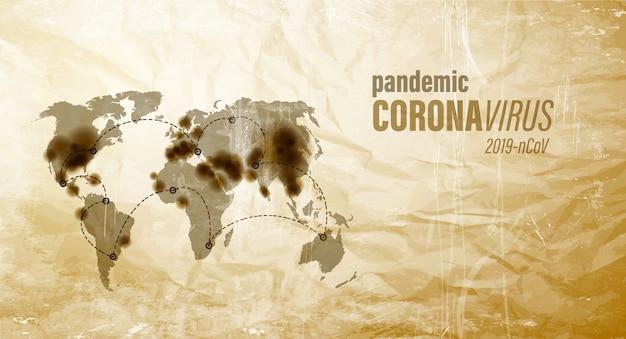 Mapa de pandemia de coronavirus en papel marrón antiguo.