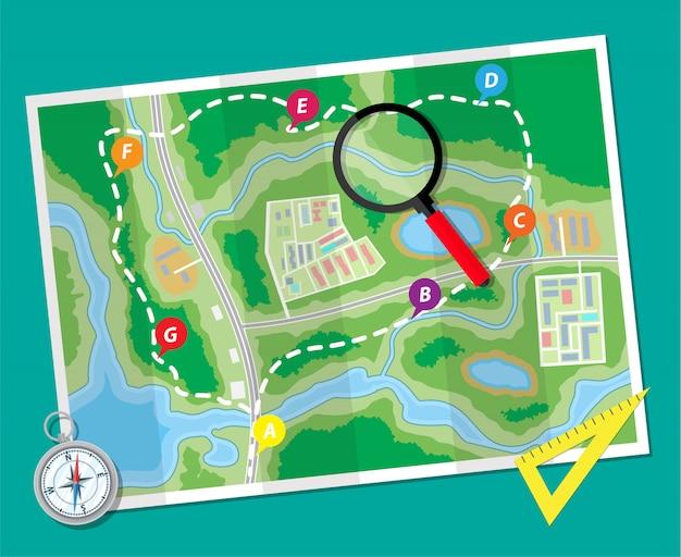Mapa de papel con brújula y regla. viaje de planificación