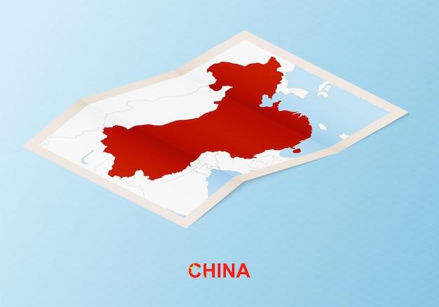 Mapa de papel doblado de china con los países vecinos en estilo isométrico.
