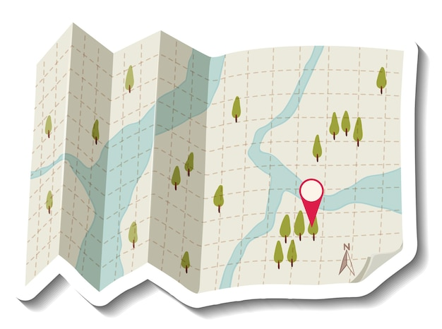 Mapa de papel doblado con pin rojo