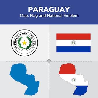Mapa de paraguay, bandera y emblema nacional