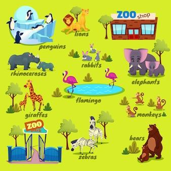 Mapa del parque zoológico, elementos de la naturaleza con animales graciosos