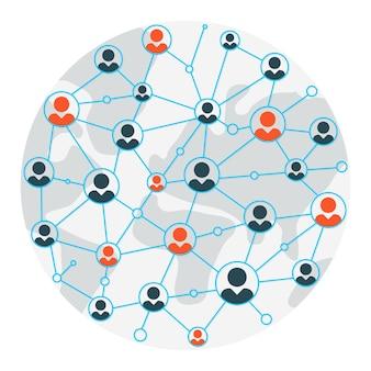 Mapa de personas. ilustración de mapa de comunicación y redes sociales
