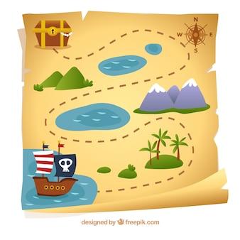 Mapa de pirata con camino hacia el tesoro
