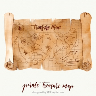 Mapa pirata de tesoro de acuarela