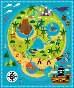 Mapa pirata dibujos animados con tesoro viajes aventura ilustración vector