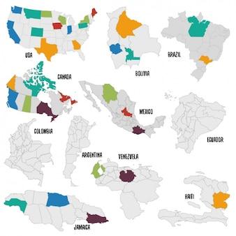 Mapa político de diferentes países