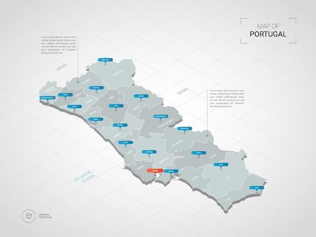 Mapa de portugal 3d isométrico.