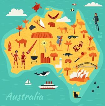 Mapa de las principales atracciones turísticas de australia, ilustración