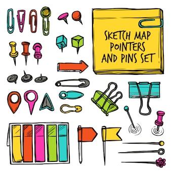 Mapa, punteros, y, pernos, bosquejo