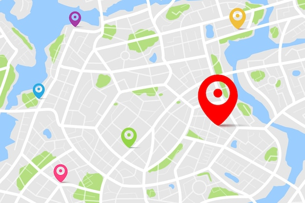 Mapa con punto de ubicación de destino, mapa de la ciudad con calle y río, concepto de navegador de mapa gps