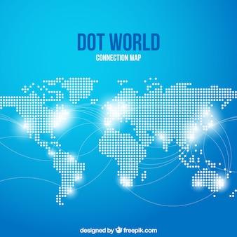 Mapa de puntos del mundo con conexiones y fondo azul
