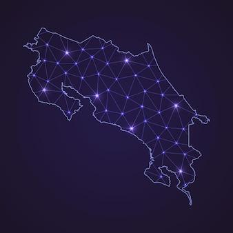 Mapa de la red digital de costa rica. línea de conexión abstracta y punto sobre fondo oscuro