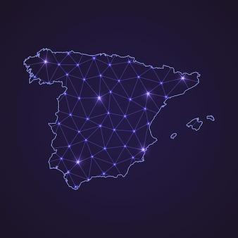 Mapa de la red digital de españa. línea de conexión abstracta y punto sobre fondo oscuro
