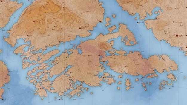 Mapa de relieve de tierra abstracta antigua con grandes datos y conexiones.