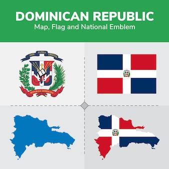 Mapa de república dominicana, bandera y emblema nacional