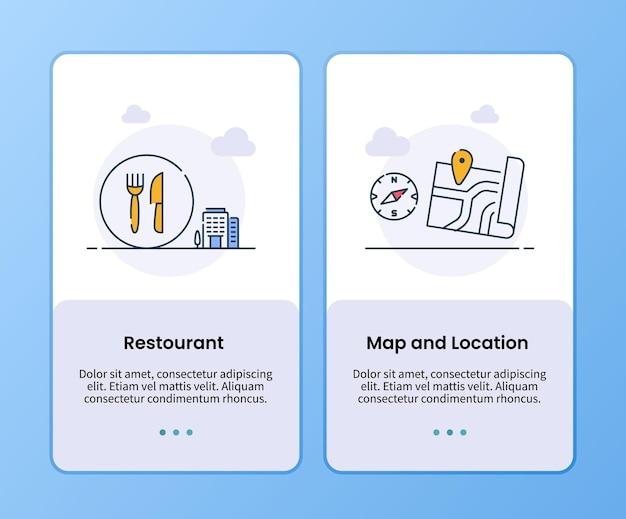 Mapa del restaurante y campaña de ubicación para la plantilla de embarque.