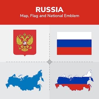 Mapa de rusia, bandera y emblema nacional