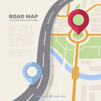 Mapa de ruta con punteros en estilo plano