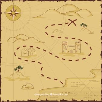 Mapa con ruta del tesoro pirata