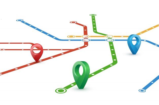 Mapa de rutas de metro y punteros.