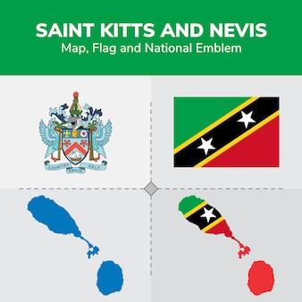 Mapa de san cristóbal y nieves, bandera y emblema nacional
