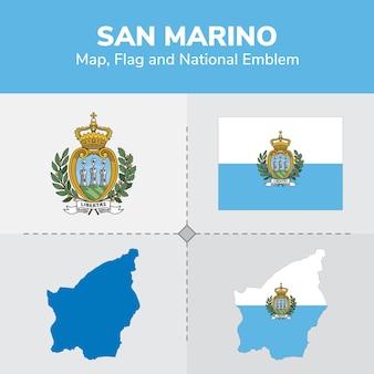 Mapa de san marino, bandera y emblema nacional