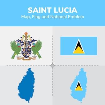 Mapa de santa lucía, bandera y emblema nacional