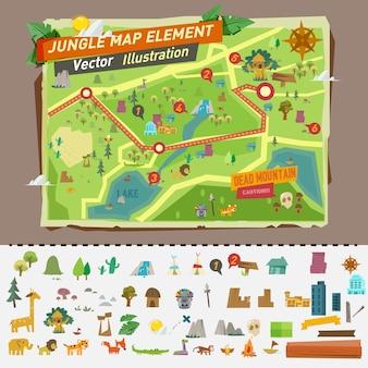 Mapa de la selva con elementos gráficos.