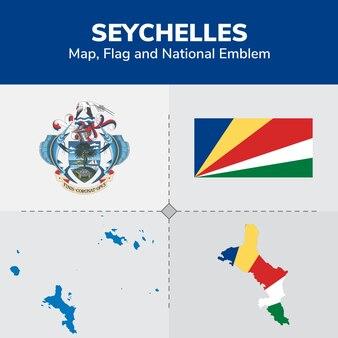 Mapa de seychelles, bandera y emblema nacional