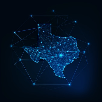 Mapa de la silueta resplandeciente del mapa del estado de texas, ee. uu., hecho de puntos de líneas de estrellas