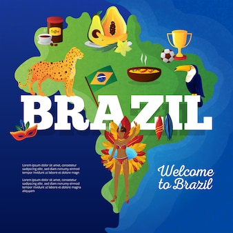 Mapa de símbolos culturales de brasil para el cartel plano de los viajeros con el tucán y el trofeo de la copa de fútbol.