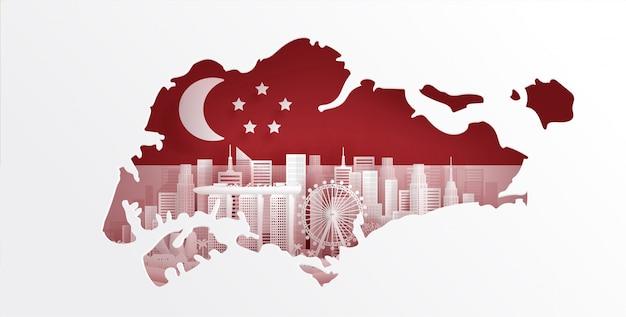Mapa de singapur con la bandera y monumento mundialmente famoso