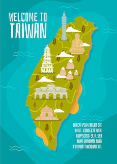 Mapa de taiwán con concepto de puntos de referencia