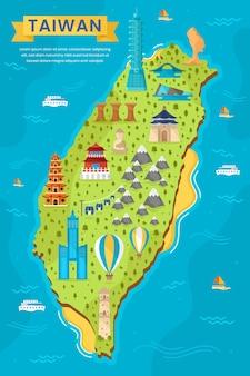 Mapa de taiwán con diferentes puntos de referencia