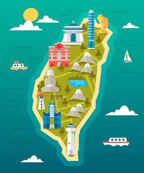Mapa de taiwán con hitos