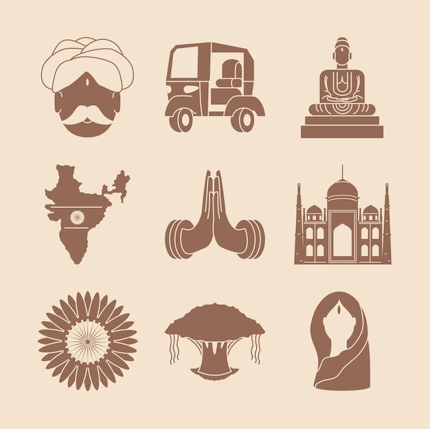 Mapa y templos de la india
