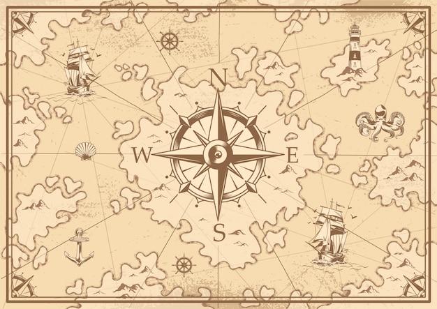 Mapa del tesoro monocromo vintage