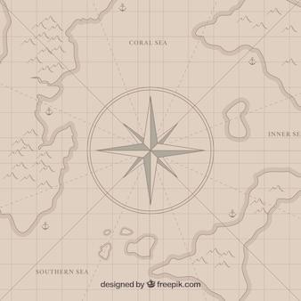 Mapa del tesoro pirata con brújula