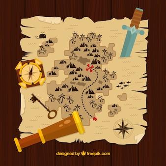 Mapa del tesoro pirata con catalejo, espada y brújula