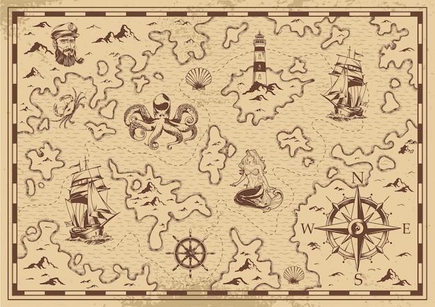 Mapa del tesoro pirata viejo monocromo vintage