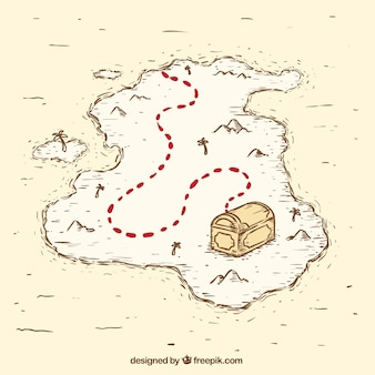 Mapa del tesoro pirata vintage