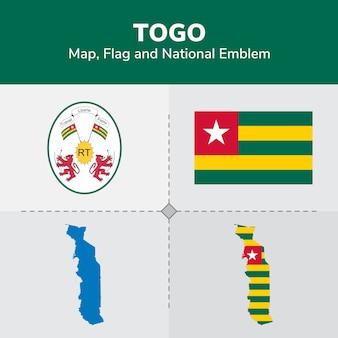 Mapa de togo, bandera y emblema nacional