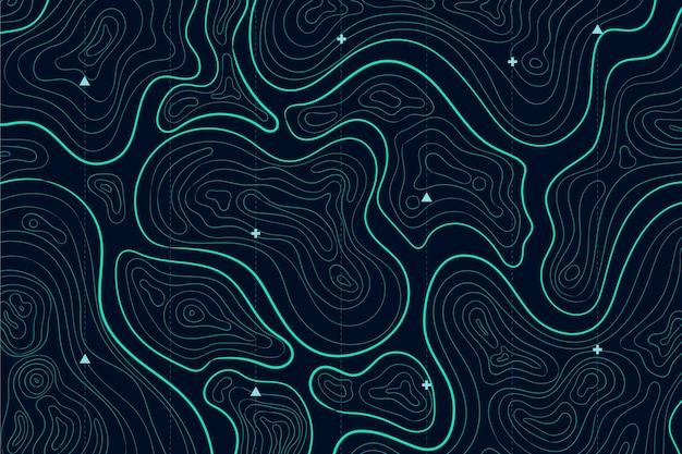 Mapa topográfico con líneas de colores.