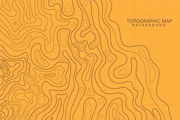 Mapa topográfico líneas de contorno sombras naranjas